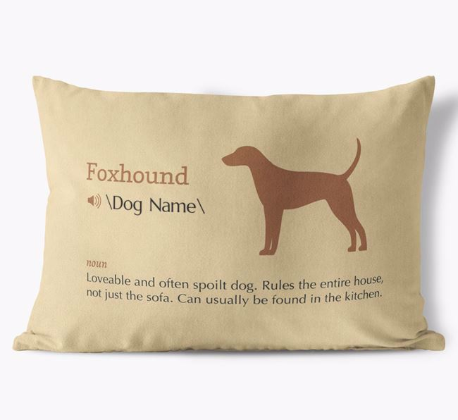 Personalised Foxhound Definition Faux Suede Cushion