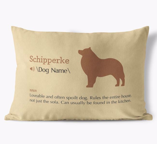 Personalised Schipperke Definition Faux Suede Cushion