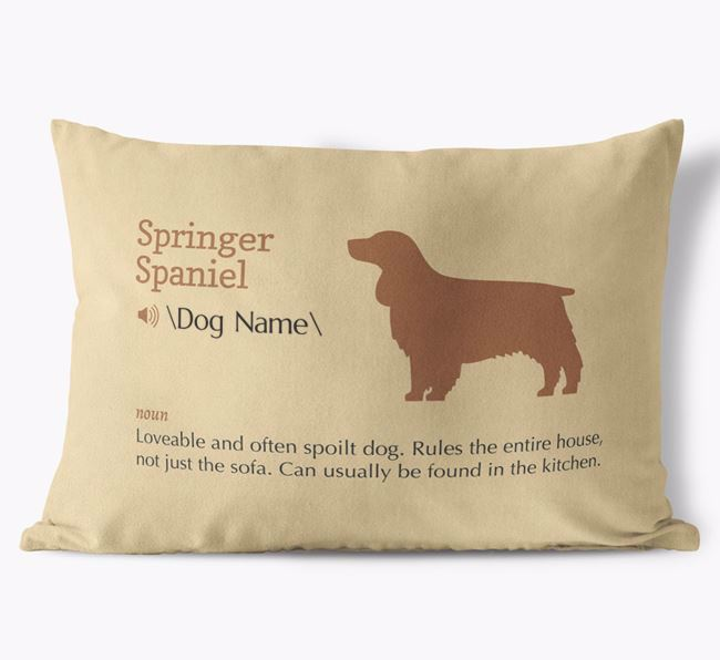 Personalised Springer Spaniel Definition Faux Suede Cushion