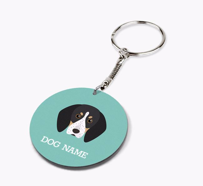Personalised Bluetick Coonhound Icon Keyring