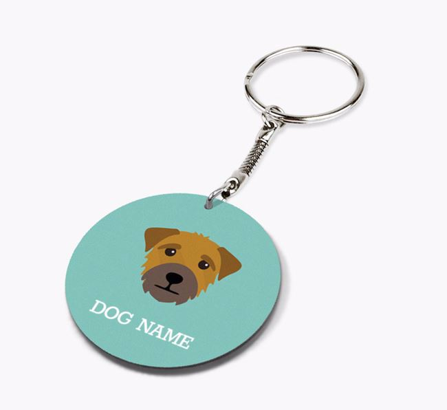 Personalised Border Terrier Icon Keyring