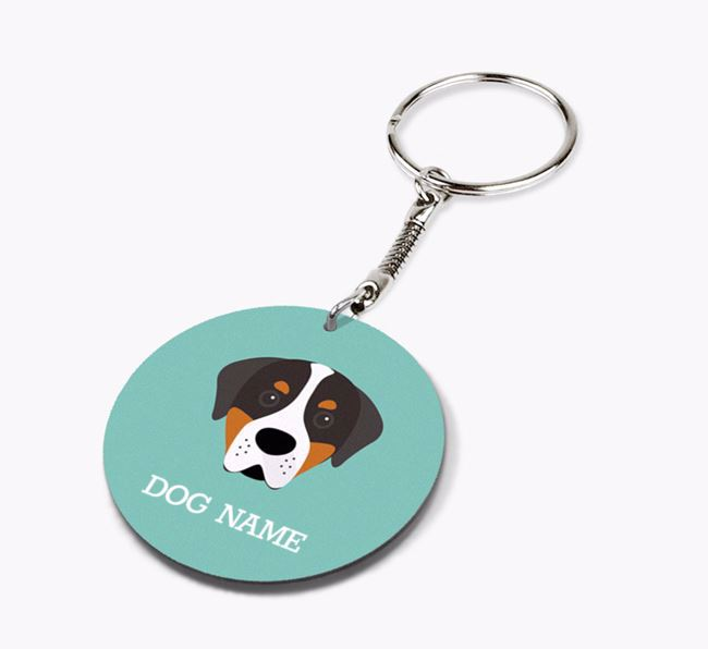 Personalised Greater Swiss Mountain Dog Icon Keyring