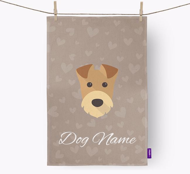 Personalised Airedale Hearts Tea Towel