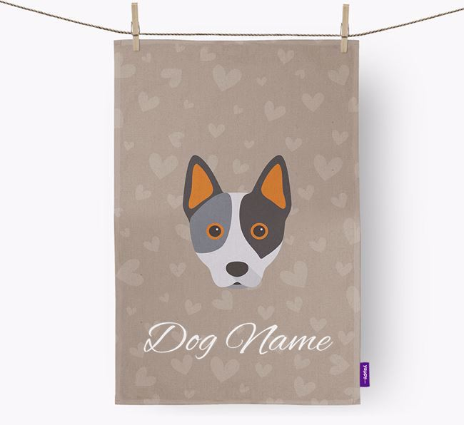 Personalised Cattle Dog Hearts Tea Towel