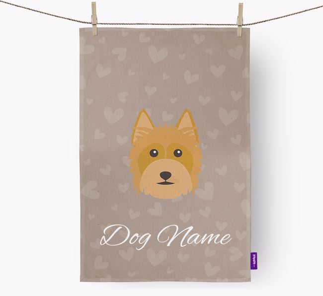 Personalised Silky Terrier Hearts Tea Towel