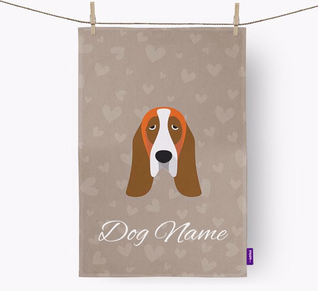 Personalised Basset Hound Hearts Tea Towel