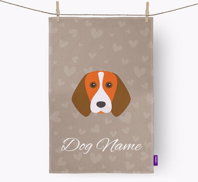 Personalised Beagle Hearts Tea Towel