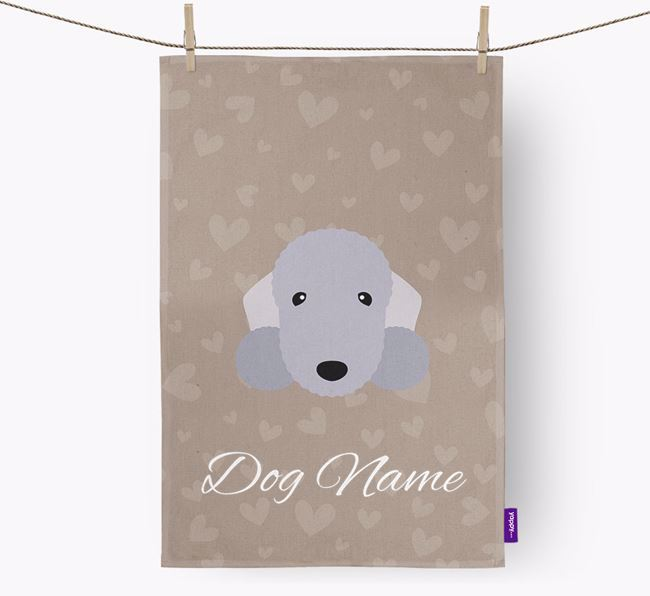 Personalised Bedlington Hearts Tea Towel