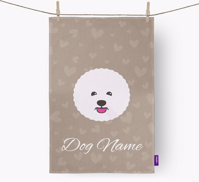 Personalised Bichon Frise Hearts Tea Towel