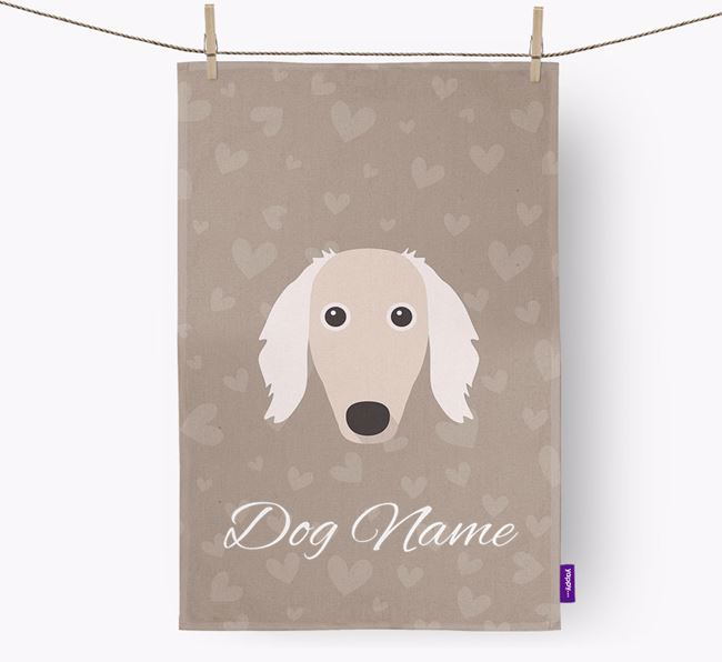 Personalised Borzoi Hearts Tea Towel