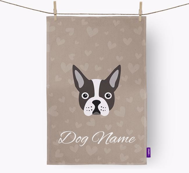 Personalised Boston Terrier Hearts Tea Towel