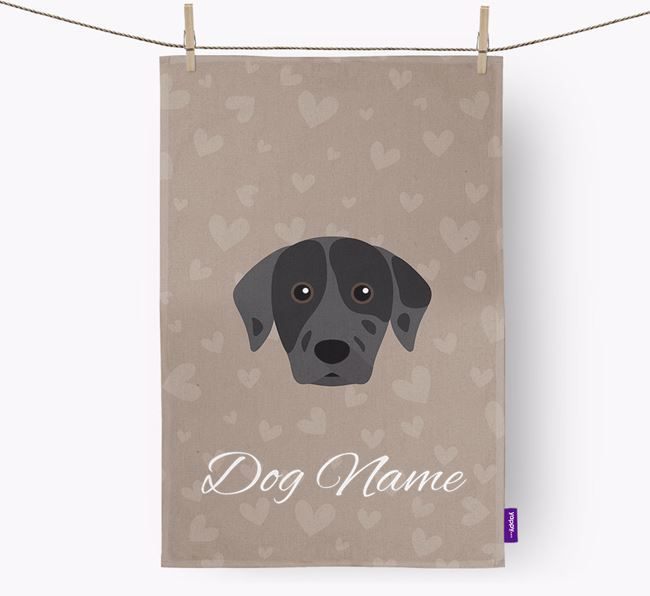 Personalised Catahoula Hearts Tea Towel