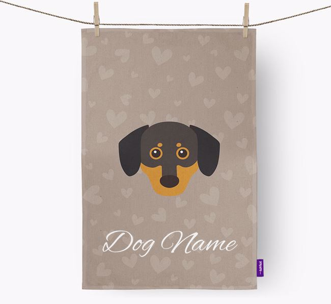 Personalised Chiweenie Hearts Tea Towel