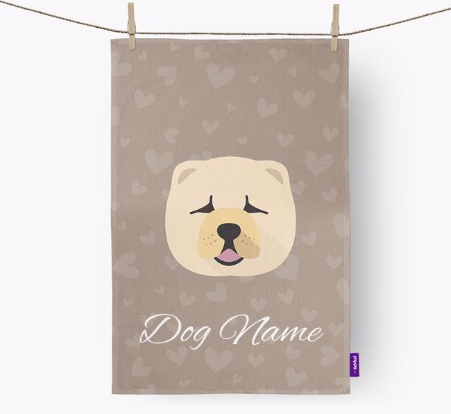 Personalised Chow Chow Hearts Tea Towel