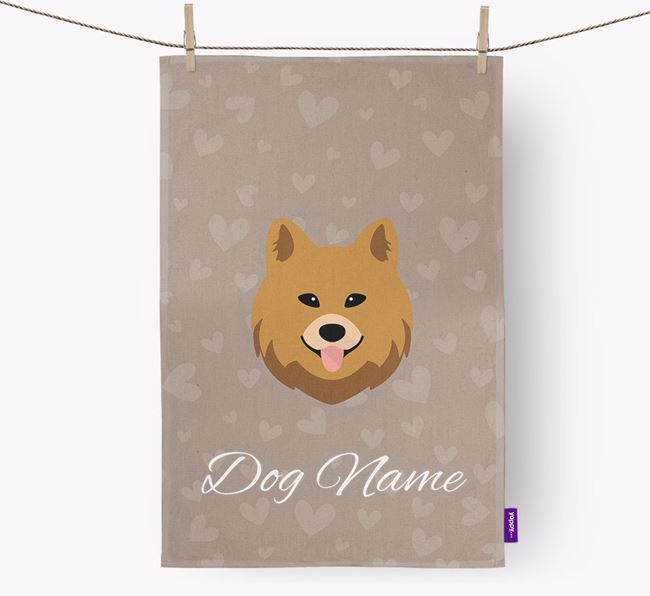 Personalised Chow Shepherd Hearts Tea Towel