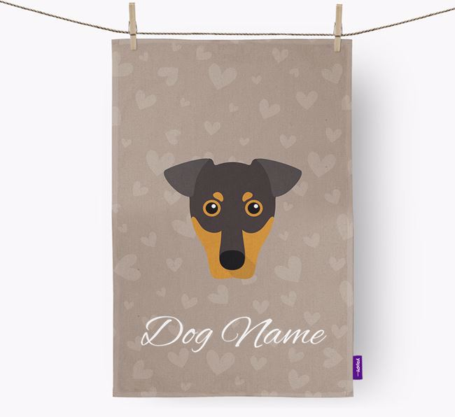 Personalised German Pinscher Hearts Tea Towel