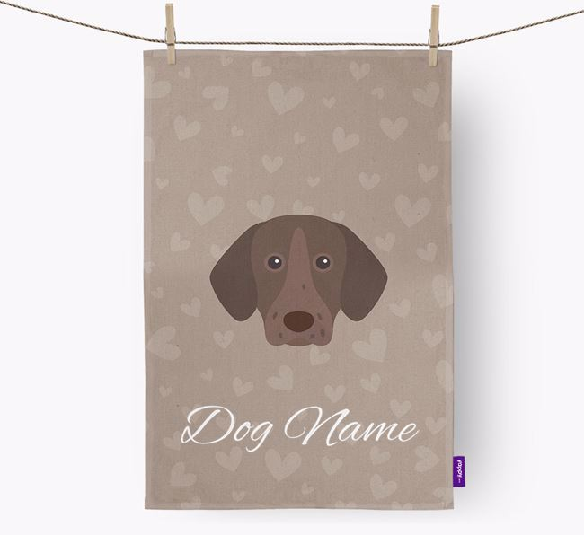 Personalised Shorthaired Pointer Hearts Tea Towel