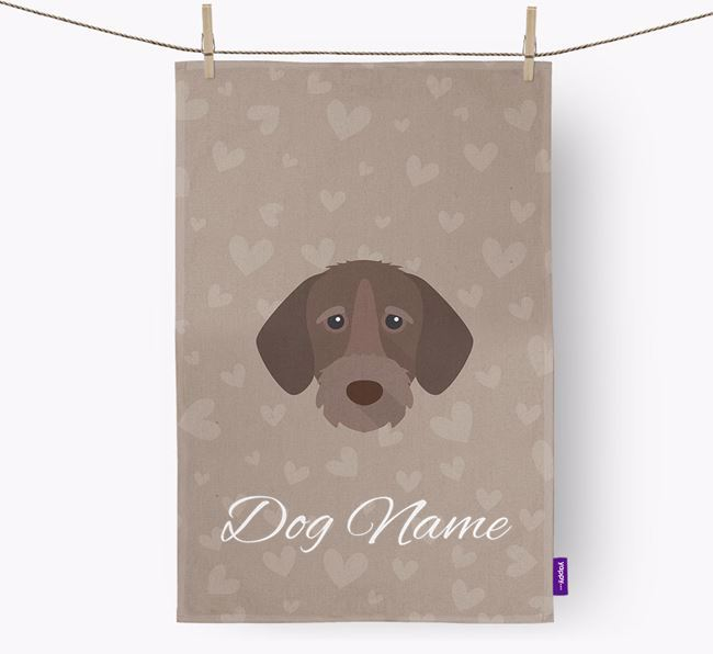 Personalised Wirehaired Pointer Hearts Tea Towel