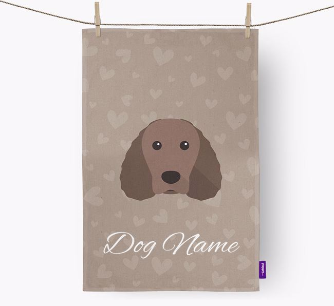 Personalised Water Spaniel Hearts Tea Towel