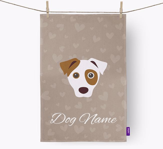 Personalised Jack Russell Hearts Tea Towel