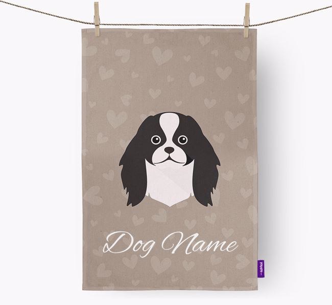 Personalised Japanese Chin Hearts Tea Towel