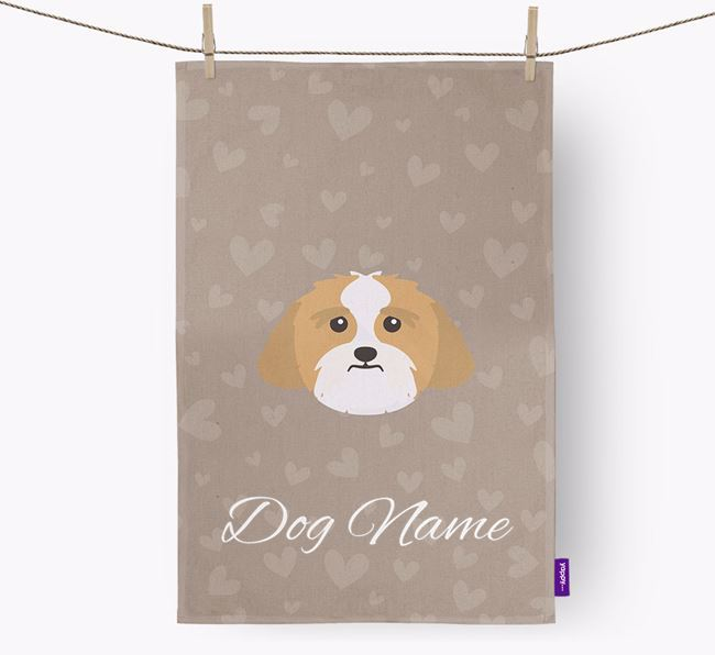 Personalised Lhasa Apso Hearts Tea Towel
