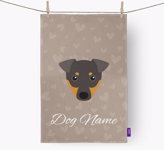 Personalised Manchester Terrier Hearts Tea Towel