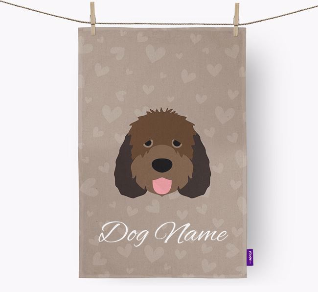 Personalised Otterhound Hearts Tea Towel