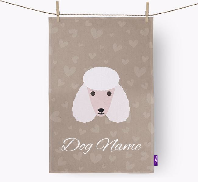 Personalised Poodle Hearts Tea Towel