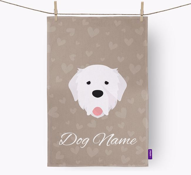 Personalised Pyrenean Mastiff Hearts Tea Towel