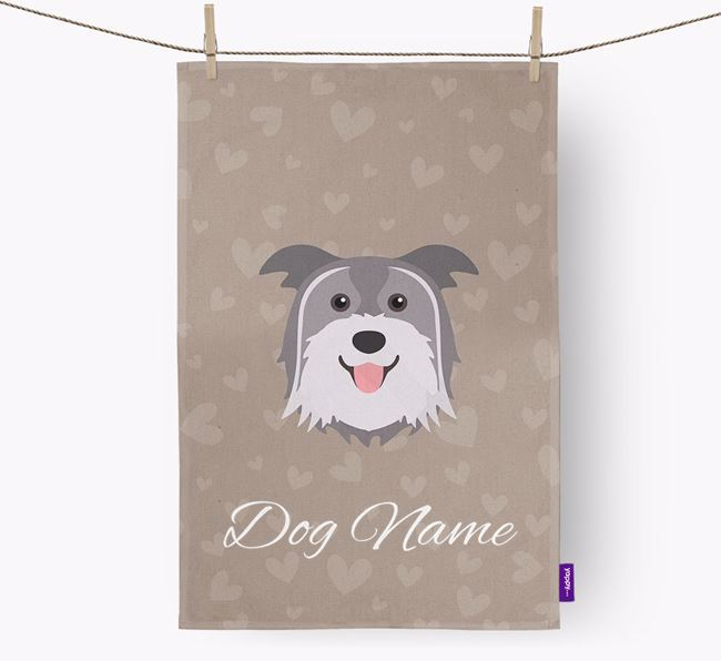 Personalised Pyrenean Shepherd Hearts Tea Towel
