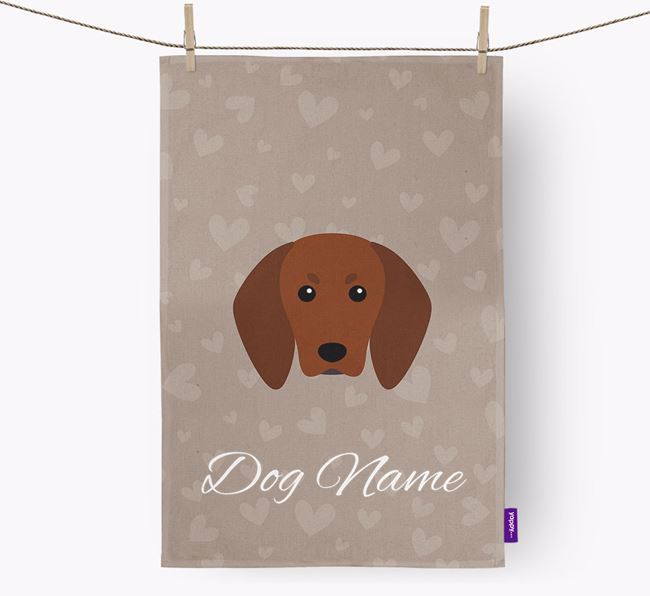 Personalised Redbone Coonhound Hearts Tea Towel
