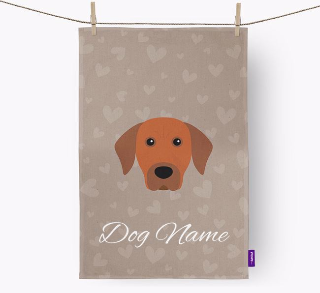 Personalised Rhodesian Ridgeback Hearts Tea Towel
