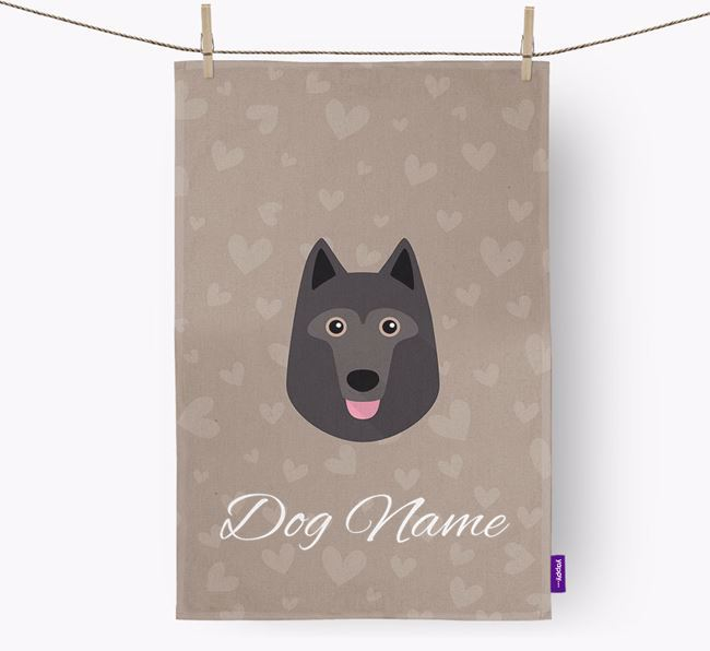 Personalised Schipperke Hearts Tea Towel