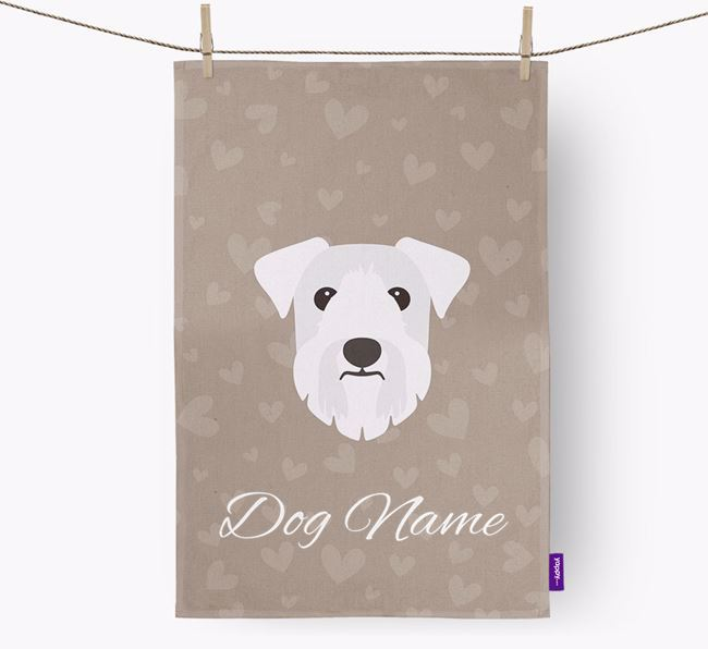 Personalised Sealyham Terrier Hearts Tea Towel