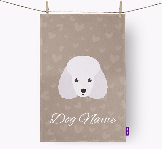 Personalised Toy Poodle Hearts Tea Towel