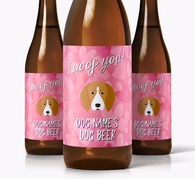 Personalised 'I woof you!' Dog Beer for