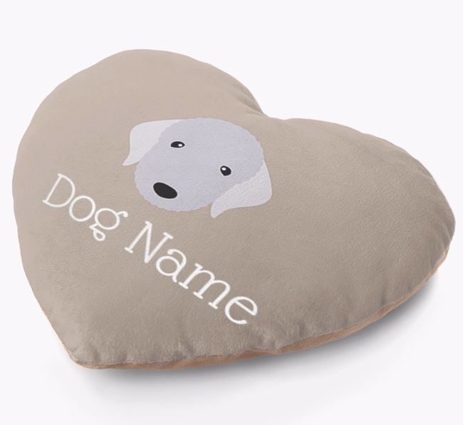 Personalised Soft Touch Heart Cushion with Bedlington Yappicon