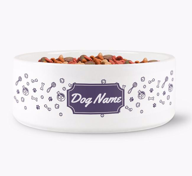 Personalised Pattern Dog Bowl for
