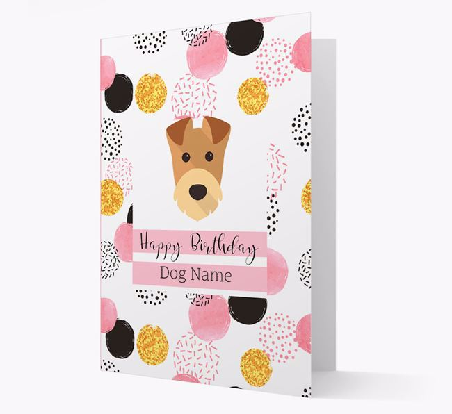 Personalised Pink Pattern 'Happy Birthday' Airedale Terrier Card