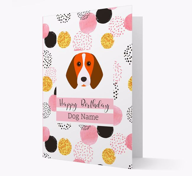 Personalised Pink Pattern 'Happy Birthday' Beagle Card