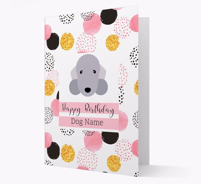 Personalised Pink Pattern 'Happy Birthday' Bedlington Terrier Card