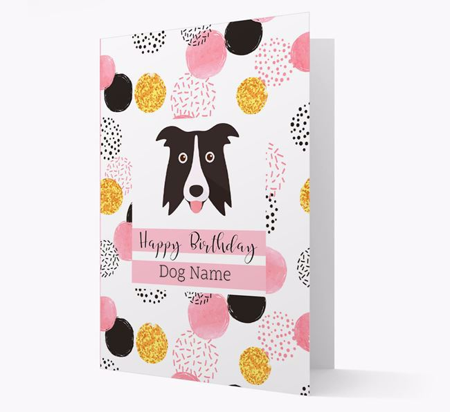 Personalised Pink Pattern 'Happy Birthday' Border Collie Card