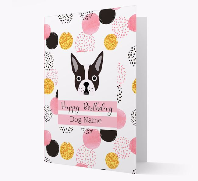 Personalised Pink Pattern 'Happy Birthday' Boston Terrier Card