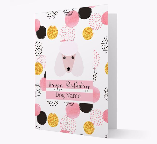 Personalised Pink Pattern 'Happy Birthday' Poodle Card