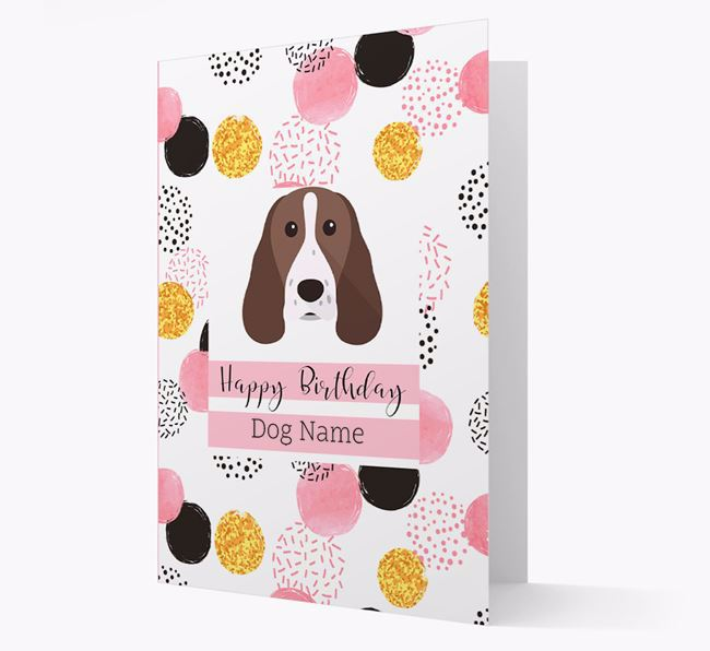 Personalised Pink Pattern 'Happy Birthday' Springer Spaniel Card