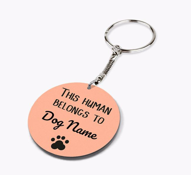 Personalised 'This human belongs to ' Double-sided Keyring