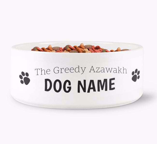 ' the greedy Azawakh' Dog Bowl
