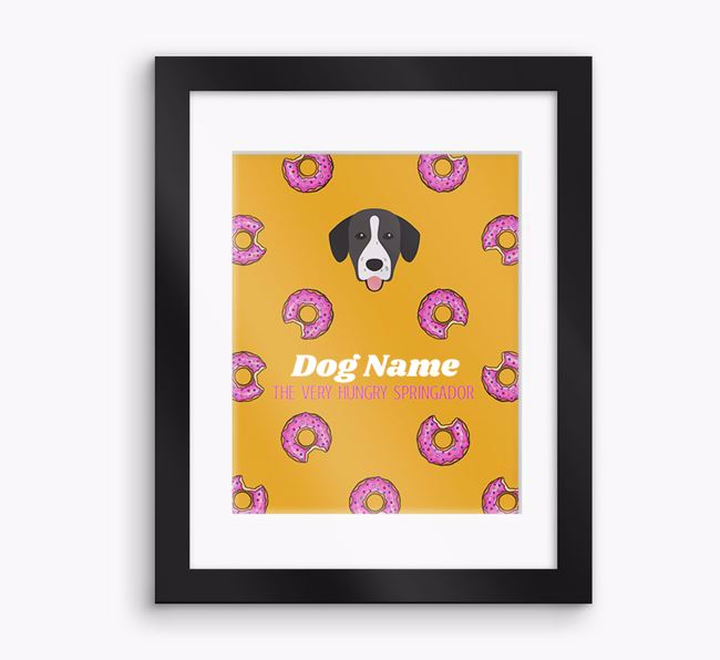 Personalised ' the very hungry Springador' Framed Print