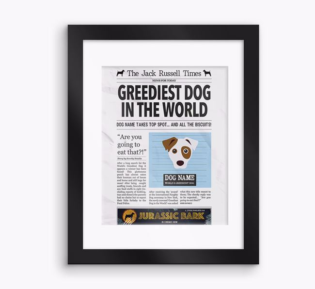 Personalised 'The Dog Times' Newspaper Framed Print